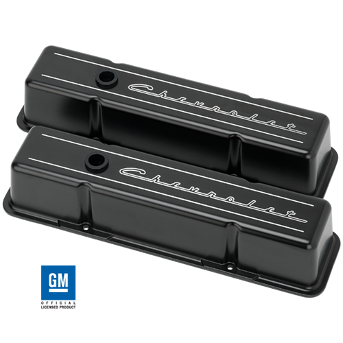 Billet Specialties - BSPBLK95223 - Billet Specialites Chevrolet Script Tall Valve Covers, Satin Black Powder Coat