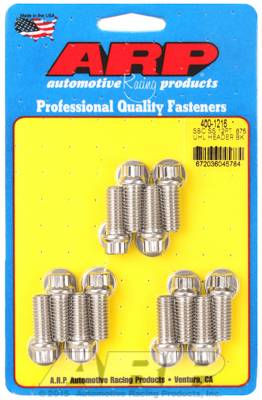 "ARP - ARP4001216 - ARP Header Bolt Kit, Chevy Small Block, 3/8"" Diameter, 3/8"" Wrench, .875 UHL, Stainless Steel, 12 Point Head, 12 per Pack"