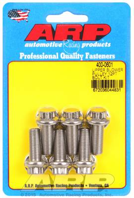 ARP - ARP4000601 - ARP Supercharger Pulley Bolts, 671-871 blower, 3/8-24 Thread, 1.000 UHL, Stainless with Washers, 12 Point Head