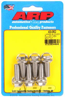 ARP - ARP4000602 - ARP Supercharger Pulley Bolts, 671-871 blower, 3/8-24 Thread, 1.000 UHL, Stainless with Washers, Hex Head