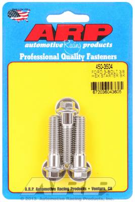 "ARP - ARP4503504 - ARP Stainless Starter Bolts - Ford V8 - With Stock Starter - 1.50"" UHL, 3/8-16, Hex Head - Package Of 3"