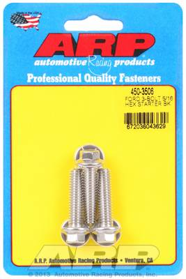"ARP - ARP4503506 - ARP Stainless Starter Bolts - Ford V8 - With Stock Starter - 1.25"" UHL, 5/16-18, Hex Head - Package Of 3"