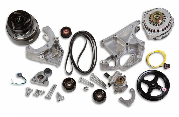 Holley Performance - HLY20-136 - Holley Performance LS Accessory Drive Kit, Includes R4 A/C Compressor, Alternator, Power Steering Pump, Belt & Pulleys