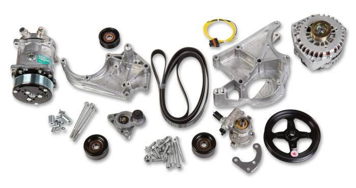 Holley Performance - HLY20-137 - Holley Performance LS Accessory Drive Kit, Includes SD508 A/C Compressor, Alternator, P/S Pump, Tensioner, Belt, & Pulleys