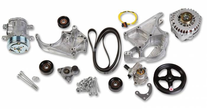 Holley Performance - HLY20-138 - Holley Performance LS Accessory Drive Kit, Includes SD7 A/C Compressor, Alternator, P/S Pump, Tensioner, Belt, & Pulleys