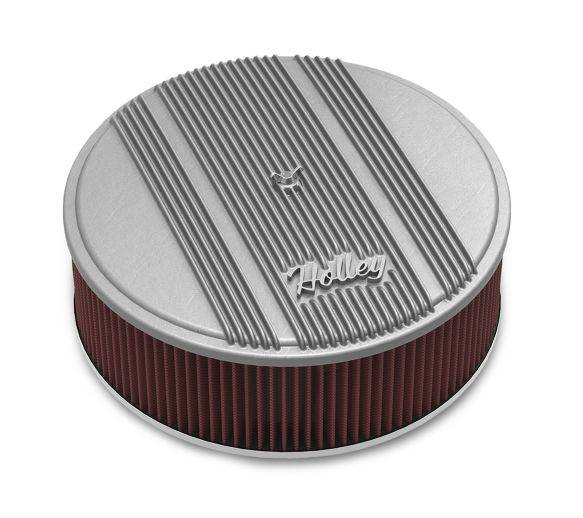 """Holley Performance - HLY120-161 - Raw Finish Air Cleaner Assembly, 14"""" Round Design w/ 4"""" premium filter element, Die-Cast Aluminum, Fits Holley 4150 & 4160 Carburetors w/5.125"""" Dia. Neck"""