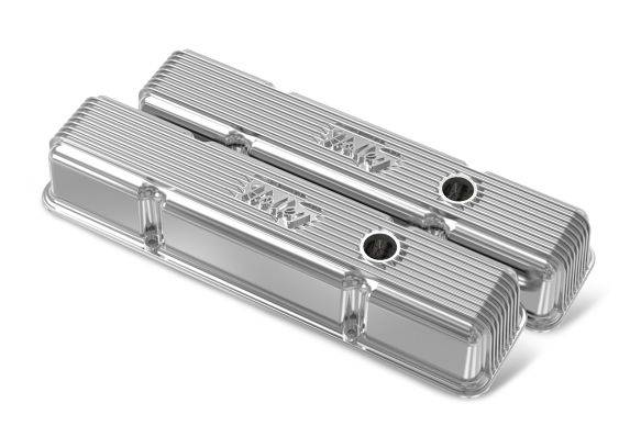 Holley Performance - HLY241-241 - Vintage–style Finned, Die-Cast Aluminum, Valve Covers for Small Block Chevy with Emissions Port- Polished Finish