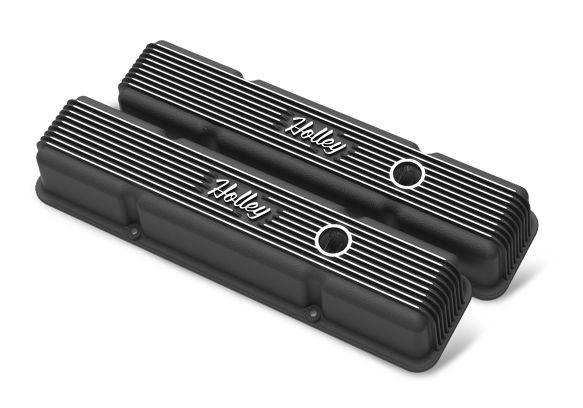 Holley Performance - HLY241-242 - Vintage–style Finned, Die-Cast Aluminum, Valve Covers for Small Block Chevy with Emissions Port- Black Finish
