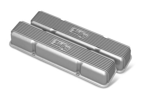Holley Performance - HLY241-243 - Vintage–style Finned, Die-Cast Aluminum, Valve Covers for Small Block Chevy without Emissions Port- Raw Finish