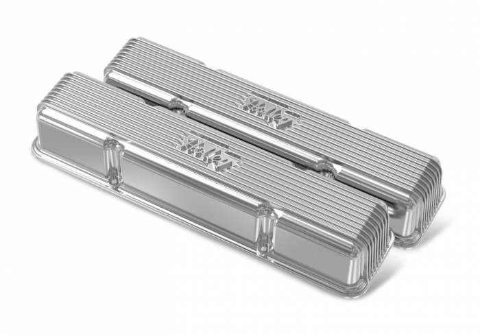 Holley Performance - HLY241-244 - Vintage–style Finned, Die-Cast Aluminum, Valve Covers for Small Block Chevy without Emissions Port- Polished Finish