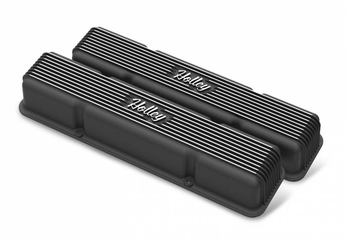 Holley Performance - HLY241-245 - Vintage–style Finned, Die-Cast Aluminum, Valve Covers for Small Block Chevy without Emissions Port- Black Finish