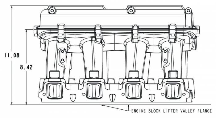 Holley Performance - HLY300-115BK - Holley LS3 Style EFI High Ram Style Intake, 2 X 4150 (Standard Sqaure Bore) 2 X1000 CFM Sideways Or Inline Mounting Dual Quad, Black Ceramic Coating