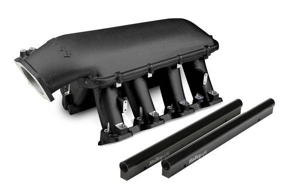 Holley Performance - HLY300-116BK - LS3 Style EFI High Ram Style Intake With 1 X 92mm GM LS Throttle Body, Longitudal Mount Plenum Top (Top can be mounted forward or backward), Black Ceramic Coated
