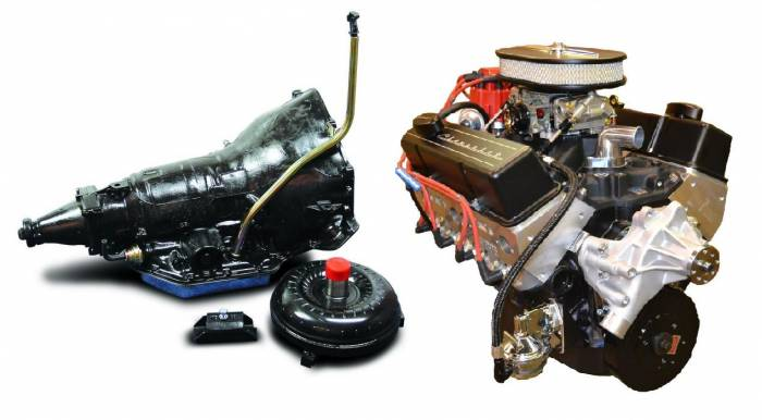 PACE Performance - GMP-TH350BP355-2 - Pace Prepped & Primed SBC 355CID 390HP Black Finish Crate Engine with TH350 Trans Combo
