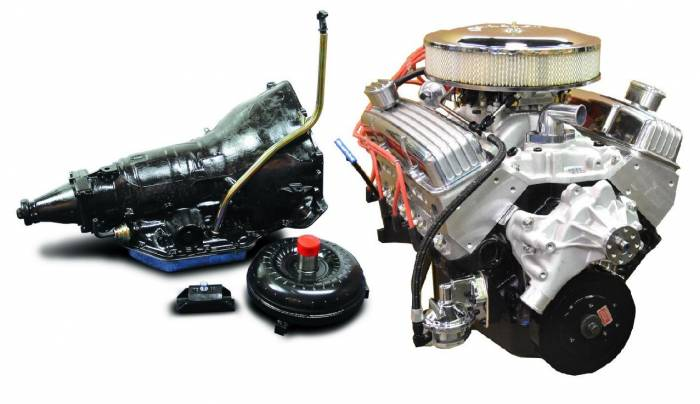PACE Performance - GMP-TH350BP355-3 - Pace Prepped & Primed SBC 355CID 390HP Polished Finish Crate Engine with TH350 Trans Combo