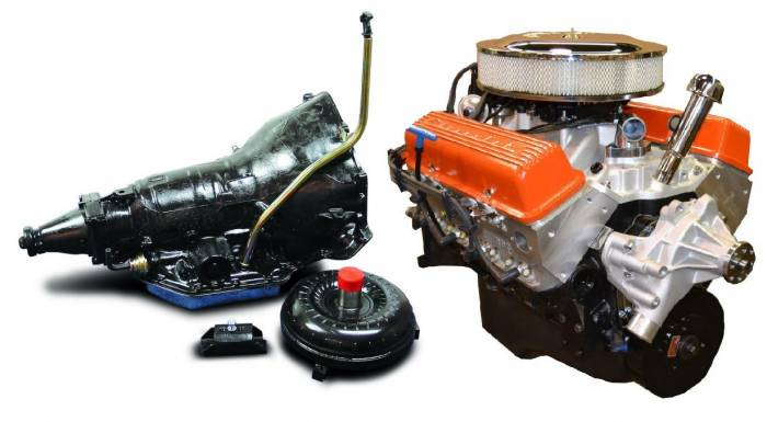 PACE Performance - GMP-TH350BP355-5F - Pace Fuel Injected SBC 355CID 390HP EFI Orange Finish Crate Engine with TH350 Trans Combo Package