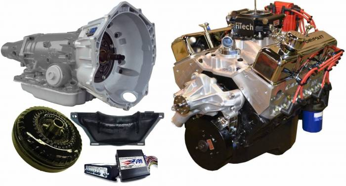 PACE Performance - GMP-4L70EBP355-1F - Pace Fuel Injected SBC 355CID 390HP EFI Chrome Finish Crate Engine with 4L70E Trans Combo
