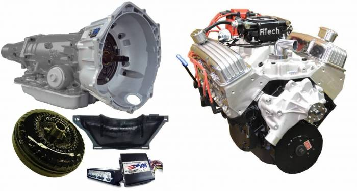 PACE Performance - GMP-4L70EBP355-3F - Pace Fuel Injected SBC 355CID 390HP EFI Polished Finish Crate Engine with 4L70E Trans Combo