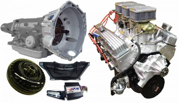PACE Performance - GMP-4L70EBP355-6 - Pace SBC 355CID 390HP Holley Tri-Power Crate Engine with 4L70E Trans Combo