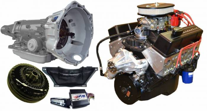 PACE Performance - GMP-4L70EBP355-2 - Pace SBC 355CID 390HP Black Finish Crate Engine with 4L70E Trans Combo