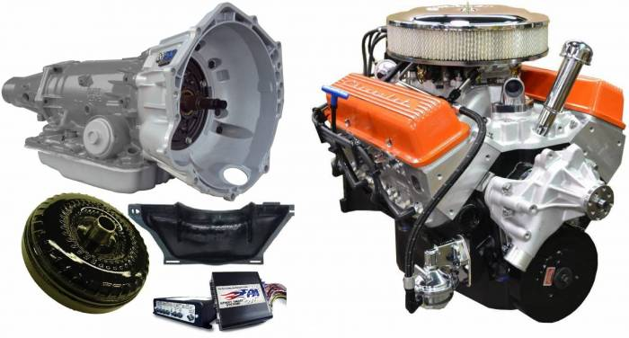 PACE Performance - GMP-4L70EBP355-5 - Pace SBC 355CID 390HP Orange Finish Crate Engine with 4L70E Trans Combo