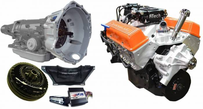 PACE Performance - GMP-4L70EBP355-5F - Pace Fuel Injected SBC 355CID 390HP EFI Orange Finish Crate Engine with 4L70E Trans Combo Package