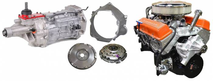 PACE Performance - GMP-T56BP355-5 - Pace SBC 355CID 390HP Orange Finish Crate Engine with Tremec T56 6 Speed Trans Combo