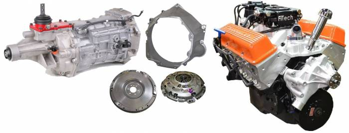 PACE Performance - GMP-T56BP355-5F - Pace Fuel Injected SBC 355CID 390HP EFI Orange Finish Crate Engine with Tremec T56 6 Speed Trans Combo Package