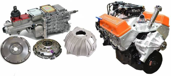PACE Performance - GMP-TK6BP355-5F - Pace Fuel Injected SBC 355CID 390HP EFI Orange Finish Crate Engine with Tremec TKO 600 5 Speed Trans Combo Package