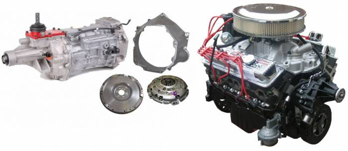 PACE Performance - GMP-T56350HO-1 - Pace SBC 350CID 330HP Chrome Finish Turnkey Engine with T56 6 Speed Transmission Package