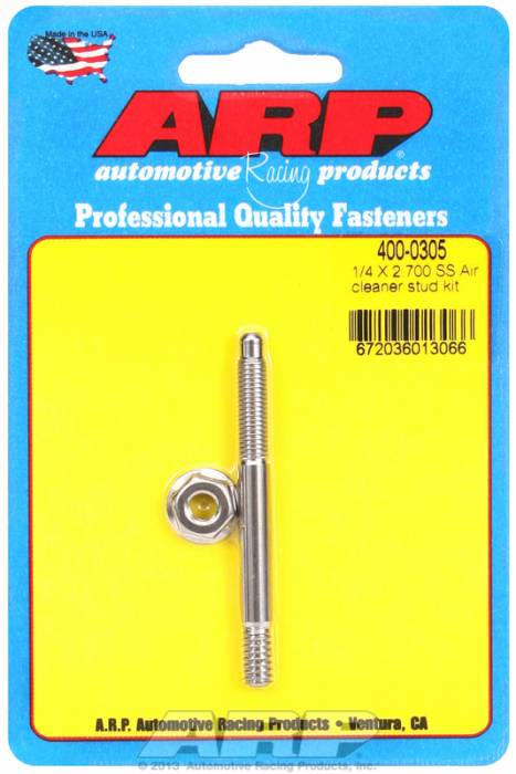 "ARP - ARP4000305 - ARP Air Cleaner Stud-1/4"" X 2-3/4"" Stainless Steel"