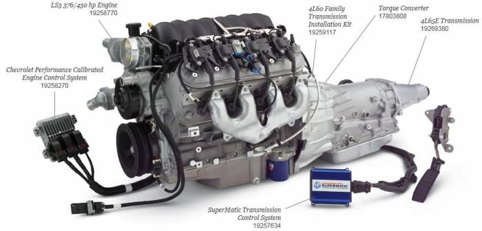 Chevrolet Performance Parts - CPSLS34L65E-X GM LS3 430HP Engine with 4L65E Transmission Combo Package.
