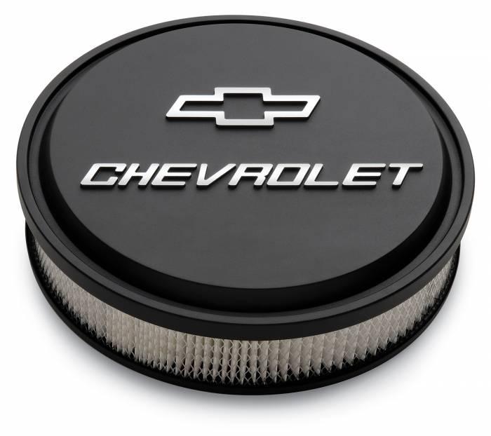"Proform - 141830 - Slant-Edge Die-Cast Aluminum Air Cleaner Kit, 14"" Round, Black Crinkle, Raised Chevrolet & Bowtie Emblem"