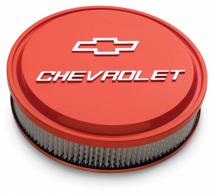 "Proform - 141831 - Slant-Edge Die-Cast Aluminum Air Cleaner Kit, 14"" Round, Chevy Orange, Raised Chevrolet & Bowtie Emblem"
