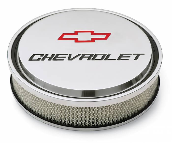 "Proform - 141833 - Slant-Edge Die-Cast Aluminum Air Cleaner Kit, 14"" Round, Polished, Recessed Red/Black Chevrolet & Bowtie Emblem"