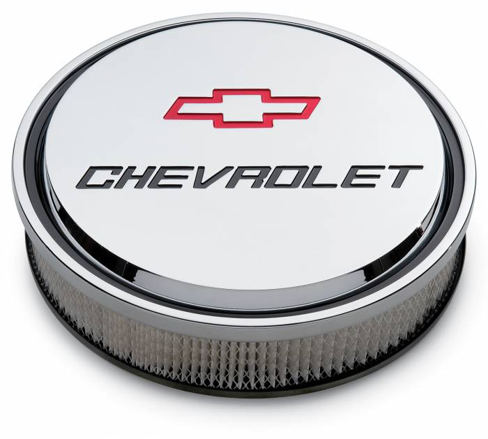 "Proform - 141835 - Slant-Edge Die-Cast Aluminum Air Cleaner Kit, 14"" Round, Chrome, Recessed Red/Black Emblem"