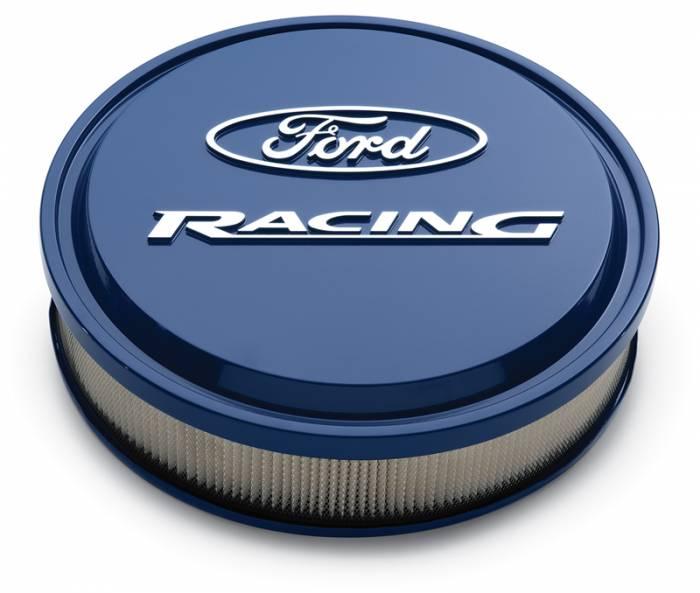 "Proform - 302381 - Slant-Edge Die-Cast Aluminum Ford Air Cleaner Kit, 13"" Round, Ford Blue, Raised/Milled Emblems"