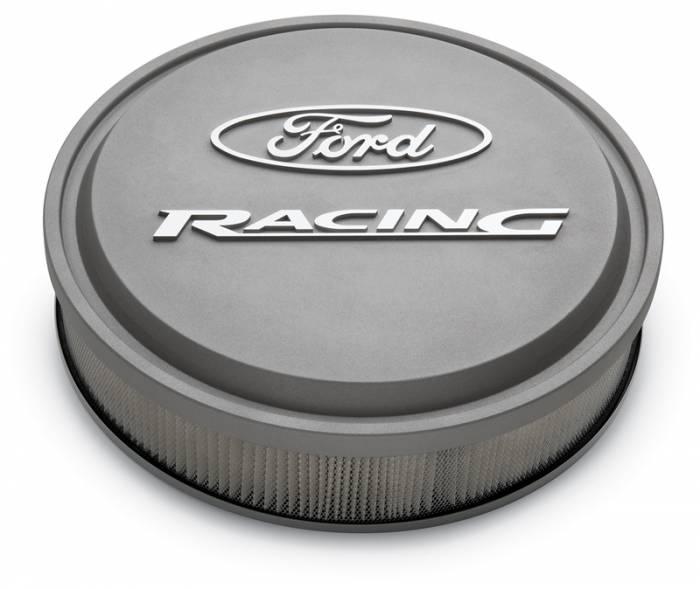 "Proform - 302382 - Slant-Edge Die-Cast Aluminum Ford Air Cleaner Kit, 13"" Round, Gray Crinkle, Raised/Milled Emblems"