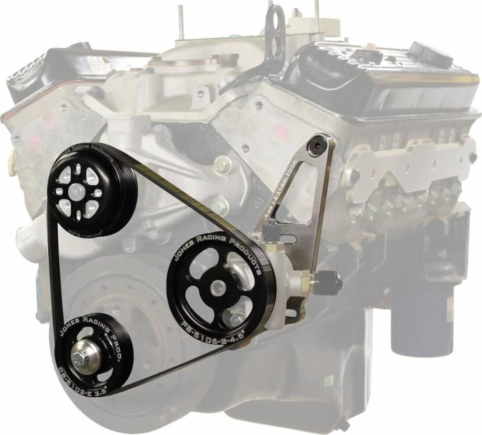 Jones Racing Products - JRP-1004-S-CE -Jones Racing Products Serpentine Water Pump & Power Steering Pulley Kit,SBC, Short Water Pump