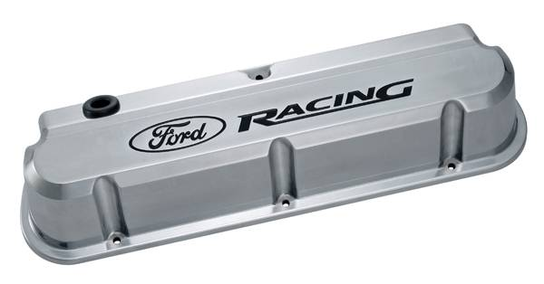 Proform - 302138 - Ford Racing Slant Edge Die-Cast Aluminum Valve Covers - Polished with Recessed Black Emblems