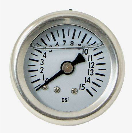 TSP - TSP-JM1017 Carbureted Pressure Gauge,   0-15 psi Fuel Pressure Gauge 1/8 NPT, Liquid Filled