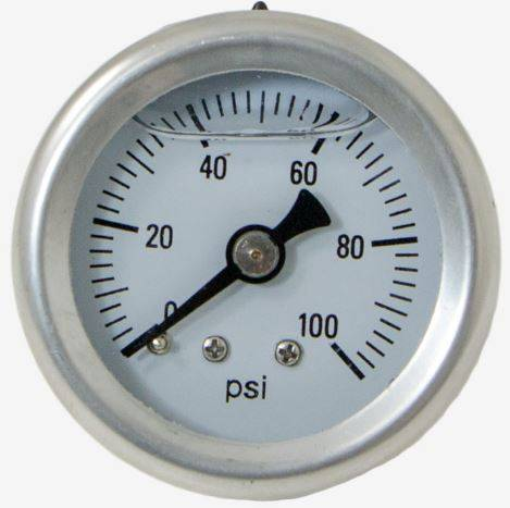 TSP - TSP-JM1018 EFI Pressure Gauge,   0-100 psi Fuel Pressure Gauge 1/8 NPT, Liquid Filled