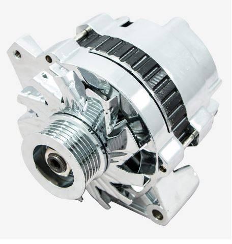 TSP - TSP-ES1003C - 110 AMP Chrome 1-Wire Alternator, CS130  Case, One-Wire Capable, Serpentine-Belt
