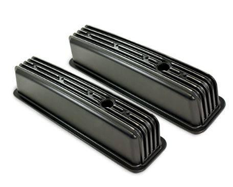 """TSP - TSP-SP8528BK Top Street Performance SBC Finned Aluminum Valve Cover, 4"""" Height, Black"""