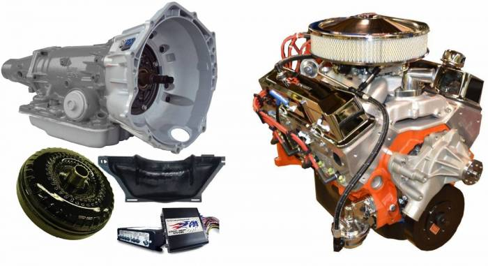 PACE Performance - GMP-4L70EBP400-1 - Pace SBC 400/460HP Chrome Finish Crate Engine with 4L70E Trans Combo
