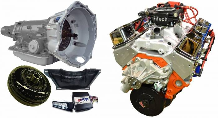 PACE Performance - GMP-4L70EBP400-1F - Pace SBC 400/460HP Chrome Finish EFI Crate Engine with 4L70E Trans Combo