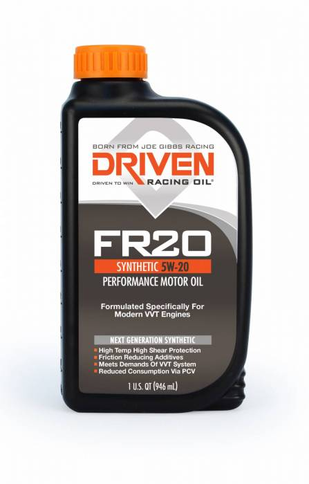 Joe Gibbs Driven Racing Oil - JGD-03006 - Joe Gibbs High Zinc Synthetic Oil (FR20) - 5W-20 - 1 Quart Bottle