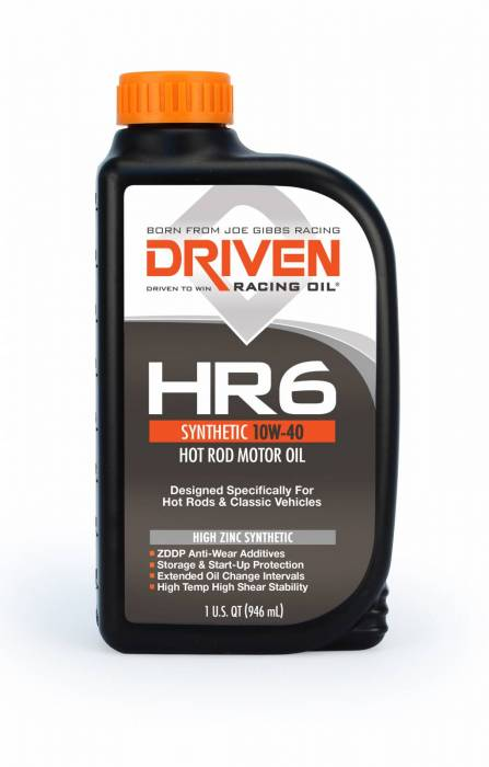 Joe Gibbs Driven Racing Oil - JGD-03906 - Joe Gibbs HR High Zinc Synthetic (HR-6) 10W40 Hot Rod Oil - 1 Quart