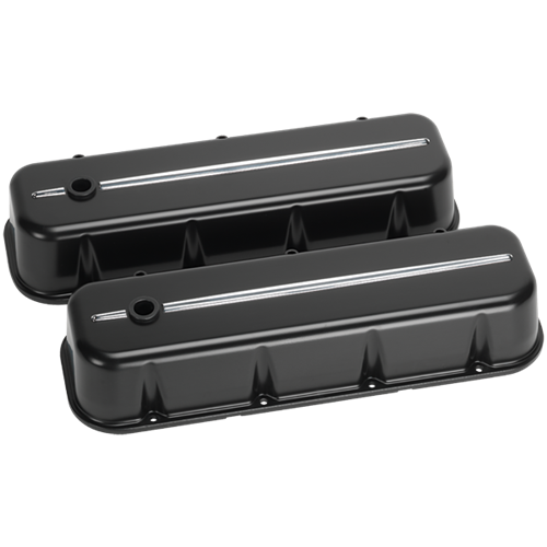 Billet Specialties - BSP96124 - Billet Specialties Aluminum Valve Covers, BBC, Streamline Collection, Satin Black