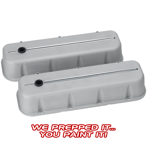 Billet Specialties - BSP96124RTF - Billet Specialties Aluminum Valve Covers, BBC, Streamline Collection, Ready to Finish